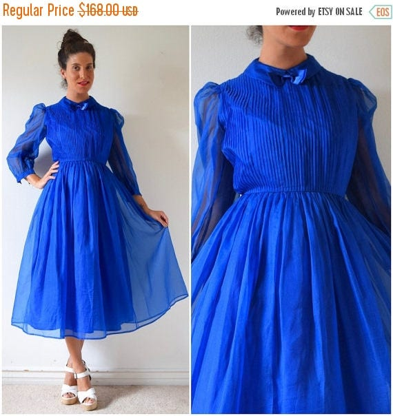 SALE SECTION / 50% off Vintage 80s does 50s Royal Blue Silk Organza Tuxedo Pleated Bodice New Look Party Dress (size small, medium)
