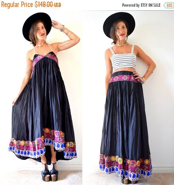 SALE SECTION / 50% off Vintage 80s 90s Black Gauze Indian Drawstring Skirt or High Low Dress