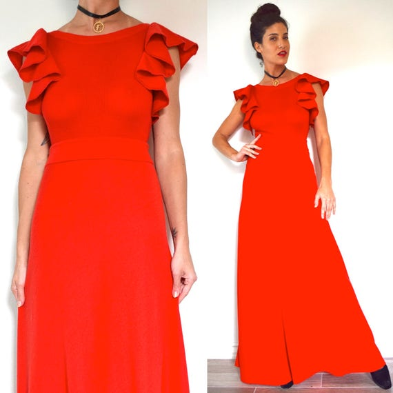 Vintage 70s Spanish Square Red Wool Flutter Sleeve Maxi Dress (size small, medium)