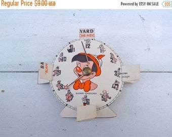 ON SALE Vintage Antique 1930/30s old French cut out paper  clock /paper toy/ Pinocchio /Blanche neige/Snow white