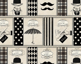 HALF YARD -Gentlemen, Mustache, Black Cream, Mustache Fabric, by David Textiles Fabric , 100% Cotton