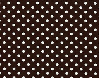 Michael Miller Fabric, Dumb Dot in Brown White, Polka Dots, Cotton Fabric - FAT QUARTER