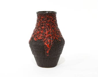 West Germany Vase FOHR keramik, Fat Lava vase in red and black, German ceramic vase, modernist pottery, Mid Century Modern home decor