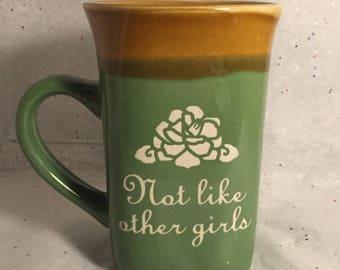 Grateful Dead Mug Etched Not Like Other Girls Scarlet Begonias for Coffee or Tea