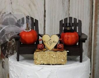 Fall Wedding Cake Topper, Adirondack Chair-Pumpkin-Bride-Groom-Orange-Mr and Mrs-Wedding Decor-Funny-Fall Decor-Autumn-Leaves