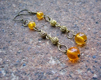 1/2 PRICE SALE - Eco-Friendly Dangle Earrings - Moroccan Sunrise - Recycled Vintage Delicate Brass Scrollwork and Bright Orange Glass Beads