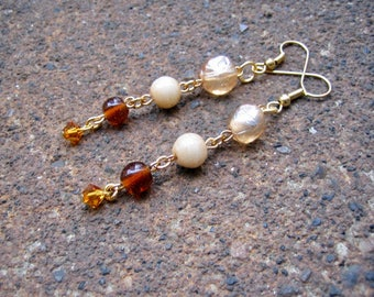 Eco-Friendly Dangle Earrings for Pierced Ears - Earthly Delights - Recycled Vintage Glass Beads in Brown, Tan & Orange and Various Shapes