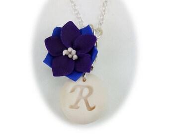 Personalized Larkspur Initial Necklace - Larkspur Jewelry, July Birthday Birth Flower