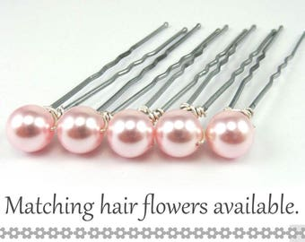 Pink Pearl Hair Pins - 8mm Pink Swarovski Pearls (5 qty) - FLAT RATE SHIPPING