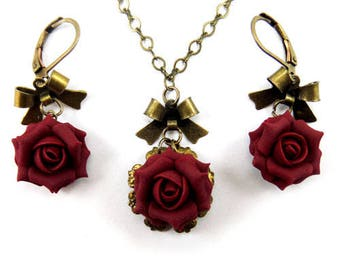 Rose Bow Jewelry Set- Retro Style Rose Jewelry, Vintage Style Rose Jewelry