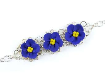 Three African Violet Vintage Style Bracelet - Trio African Violet Jewelry, Purple VioletsFiligree Bracelet, African Violet Flowers