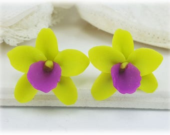 Green Orchid Stud Earrings or Clip On Earrings - Green Orchid Jewelry