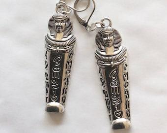 Mummy pharaoh sarcophagus earrings Egyptian Large silver tone for pierced ears nickel free