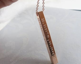ON SALE Vertical Bar Necklace Hand Stamped Coordinates Necklace Gift Idea Bridesmaids Necklace Anniversary Jewelry