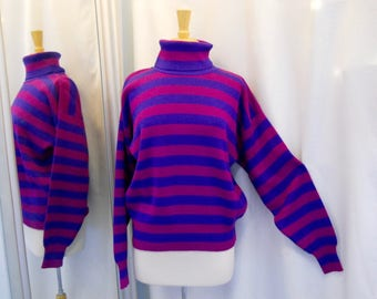 Vintage 1980s 80s Obermeyer Sweater Pink and Purple Turtleneck Sweater Striped Sweater 80s Fashion 80s Sweater 80s Style Long Sleeve Size M