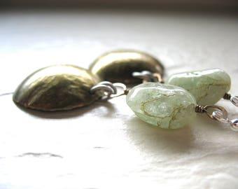 Aquamarine Earrings, Aquamarine Brass Dome Earrings, Chandelier Gemstone Dangle Earrings, Jewelry, Aquamarine Earrings