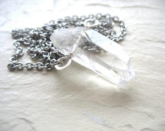 Quartz Crystal Necklace, Quartz Crystal Point Gemstone Chain Necklace, Artisan Quartz Pendant Stone Necklace Jewelry