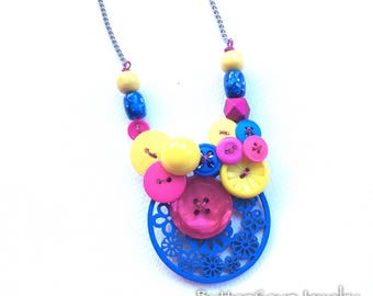 Yellow Magenta and Bright Blue Primary Colors Button Statement Necklace
