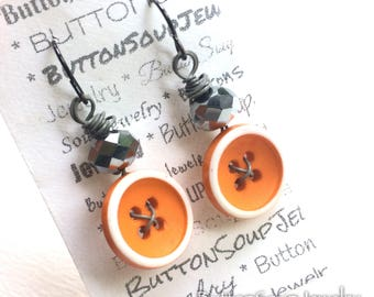 Bright Orange Vintage Button Dangle Earrings with white and gray - Fun and Funky Jewelry