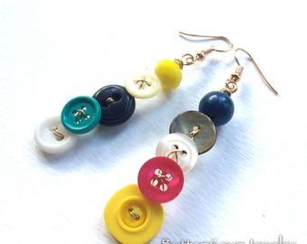Colorful Mismatch Vintage Button Earrings - Long Dangle
