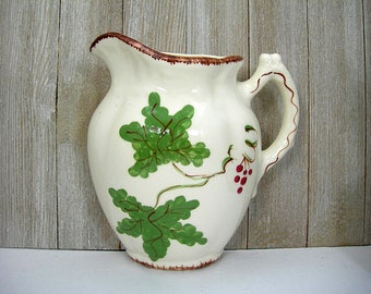 Wall Pocket Pitcher - Hand-painted Ceramic with Green Leaves and Red Berries - Vintage Kitchen Wall Decor - Ceramic Novelty Kitsch - 6.5x6""