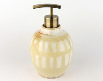 Soap / Lotion Dispenser - 16 oz - Soft Yellow - Creamy White/ Handmade Wheel Thrown Pottery