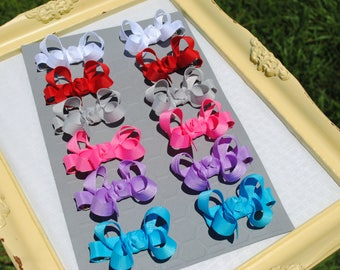 Tiny Bow Set - 2 Inch Hair Bow Pair - Custom Colors - Mini Boutique Bow Pairs - You Pick To Match - Preschool Bows - Piggy Tail Hair Clips