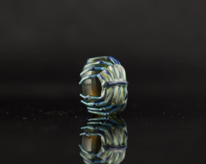 Featured listing image: Facehugger Alien Dread Bead / Glass Dreadlock Bead / Macrame Bead / Alien Movie / Alien Tech & Silver Amethyst / Ready to Ship #667