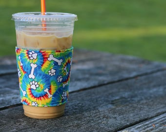 Whats Up Your Sleeve Reusable Fabric Ice Iced Coffee Sleeve Tie Dyed Puppy Paw Prints