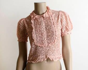 Vintage 1930s Blouse - Salmon Blush Pink Lace Puff Sleeve Yoke Bib Petite Dainty Sheer Blouse - Puff Sleeve - Small XS