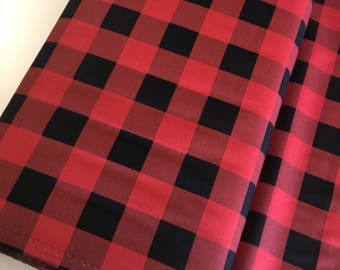 Christmas fabric, 1 Inch Plaid, Quilting fabric, Cozy Quilt, Christmas or Winter Craft, Hometown Christmas, Plaid in Red - Choose the cut