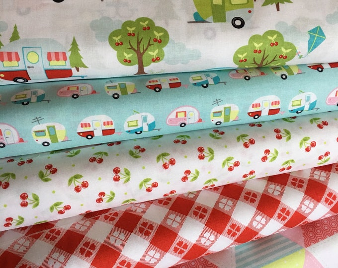 Glamping fabric, Fabricshoppe GlamperLicious fabric, Camping Camper Aqua fabric, Camp Hike, Vintage Camper Aqua by Riley Blake, Bundle of 6