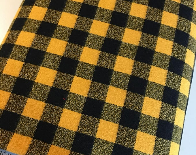 Yellow Plaid, Mammoth Plaid Flannel, Black Plaid, Lumberjack Party Flannel, Plaid Scarf fabric, Robert Kaufman, Mammoth Flannel in yellow