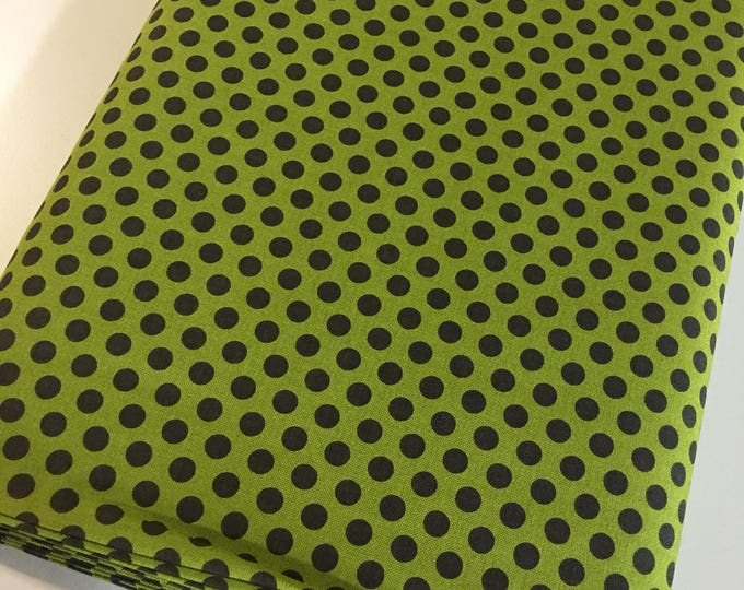 Christmas fabric, Quilting fabric, Cozy Quilt, Christmas or Winter Craft, Hometown Christmas, Dots in Christmas Green - Choose the cut