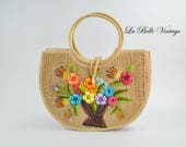 Floral Raffia Purse Vintage Straw Embroidery Basket Tote ~ Deadstock