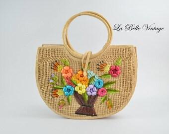 Floral Raffia Purse Vintage Straw Embroidery Basket Tote ~ Deadstock