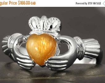 CLOSING SALE Natural Sunstone Claddagh ring in sterling silver - Size 6 3/4 and 6 1/4 ready to be shipped