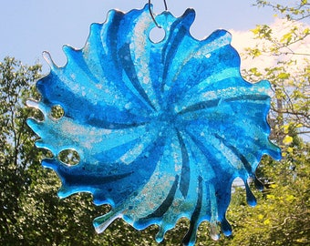 Swirly splash fused glass suncatcher aqua and steel blue