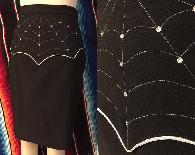 Charlotte Western Spider Web Pencil Skirt
