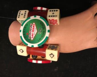 Bakelite tile Las Vegas Poker Chip Dice Casino Bracelet Cuff  Lucky Jan Carlin Original