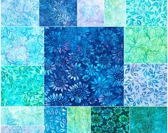 "SQ85 Robert Kaufman GREENHOUSE BATIKS Precut 5"" Charm Pack Fabric Quilting Cotton Squares CHS-596-42"