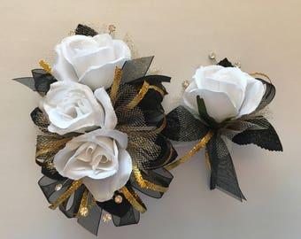 White Gold Black Silk Corsage & Boutonnière Set