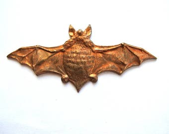 A bat-Vintage copper metal stamping, 67mmx24mm, RARE