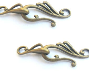 Clasps hook and eye bronze tone Tibetian style, 26mm, 10 sets