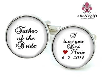 Father of the Groom Cufflinks, Father of the Bride Cufflinks, Wedding Gift, Personalized photo Picture cuff links, Quote Anyway you want.