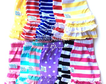 Size 2/3 2 3 Shorts Boutique double ruffle stripe knit shorts girls toddlers babies custom Momi boutique red blue pink black yellow