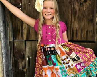 Fox Bird Woodland Fall portrait dress Mushroom Squirrel toddler girl Disney world clothing
