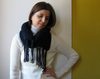 Cowl with Fringes Knitted in Navy Blue Wool