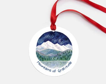 Mountains of Gratitude Ornament / Ornament / Mountain Ornament / Pacific Northwest Ornament / Cascadia Ornament / Thank You Gifts