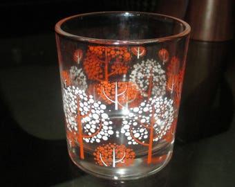 Vintage MOD 60s Orange and White Tree Motif Juice Glass